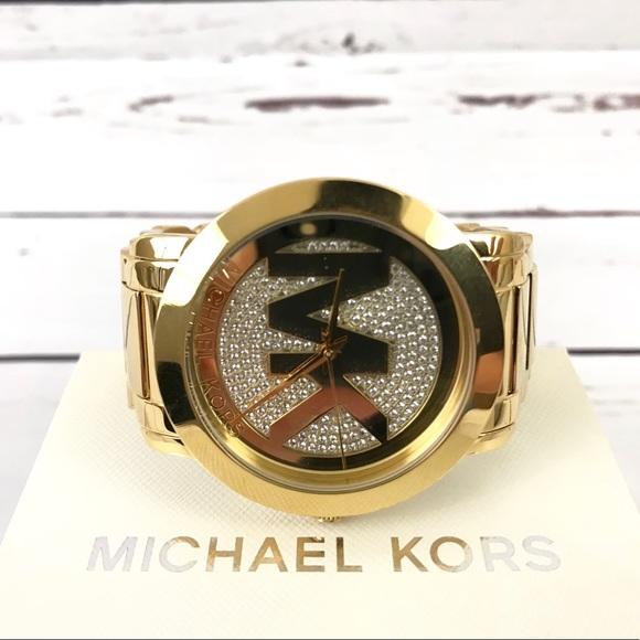 1512b9079067 Michael Kors Women s Runway MK Logo Glitz Gold. NWT